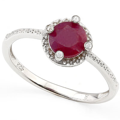 SMASHING 1.1 CARAT GENUINE RUBY WITH 4 PCS GENUINE DIAMONDS PLATINUM OVER 0.925 STERLING SILVER RING