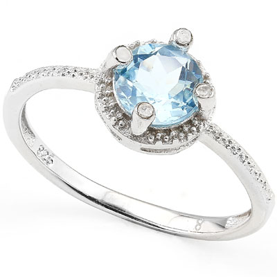 SMASHING 1.04 CARAT BLUE TOPAZ WITH GENUINE DIAMONDS PLATINUM OVER 0.925 STERLING SILVER RING
