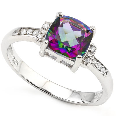 SMASHING 1.51 CARAT MYSTIC GEMSTONE WITH DOUBLE GENUINE DIAMONDS PLATINUM OVER 0.925 STERLING SILVER RING