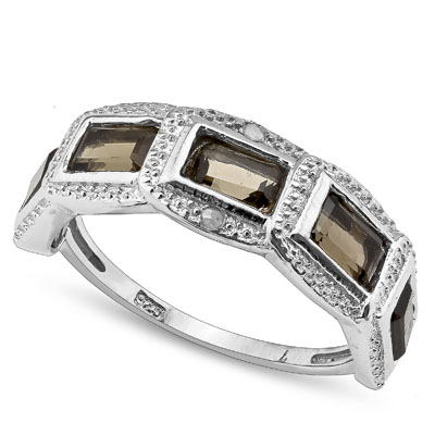 SMASHING 1.66 CARAT SMOKEY TOPAZ WITH DOUBLE GENUINE DIAMONDS PLATINUM OVER 0.925 STERLING SILVER RING