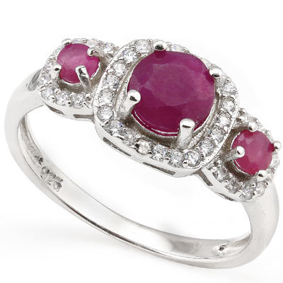 SMASHING 1.49 CARAT GENUINE RUBY WITH DOUBLE GENUINE DIAMONDS PLATINUM OVER 0.925 STERLING SILVER RING