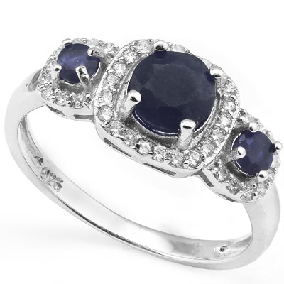 SMASHING 1.34 CARAT GENUINE SAPPHIRE WITH GENUINE DIAMONDS PLATINUM OVER 0.925 STERLING SILVER RING