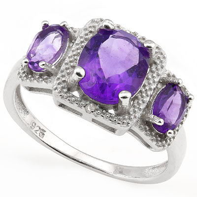 SMASHING 2.61 CARAT AMETHYST & DOUBLE GENUINE DIAMONDS PLATINUM OVER 0.925 STERLING SILVER RING