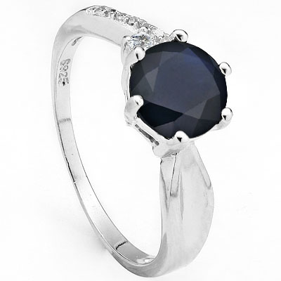 AWESOME 1.48 CARAT GENUINE BLACK SAPPHIRE WITH CREATED WHITE SAPPHIRE PLATINUM OVER 0.925 STERLING SILVER RING