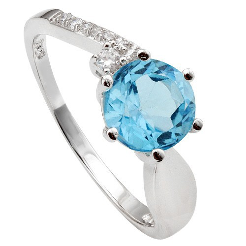 ENTHRALLING 1.65 CT BLUE TOPAZ & CREATED WHITE SAPPHIRE 0.925 STERLING SILVER W/ PLATINUM RING