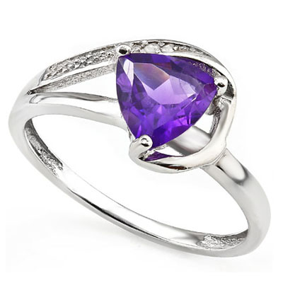 DAZZLING 1.38 CT AMETHYST & 2 PCS GENUINE DIAMOND 0.925 STERLING SILVER W/ PLATINUM RING