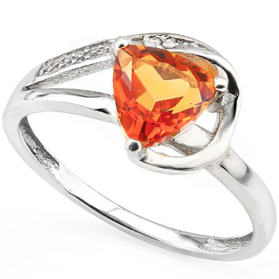 PERFECT 1.4 CARAT AZOTIC GEMSTONE WITH GENUINE DIAMONDS PLATINUM OVER 0.925 STERLING SILVER RING