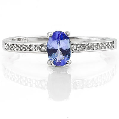 SMASHING 0.46 CARAT GENUINE TANZANITE WITH GENUINE DIAMONDS PLATINUM OVER 0.925 STERLING SILVER RING
