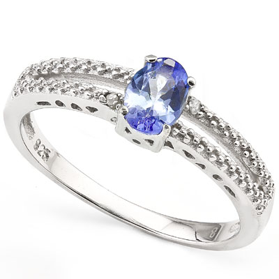 SMASHING 0.45 CARAT GENUINE TANZANITE WITH DOUBLE GENUINE DIAMONDS PLATINUM OVER 0.925 STERLING SILVER RING