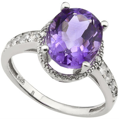 SMASHING 3.42 CARAT AMETHYST WITH 8 PCS WHITE TOPAZ AND DOUBLE GENUINE DIAMONDS PLATINUM OVER 0.925 STERLING SILVER RING