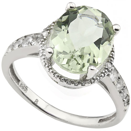 SMASHING 3.35 CARAT GREEN AMETHYST & WHITE TOPAZ DIAMONDS PLATINUM OVER 0.925 STERLING SILVER RING