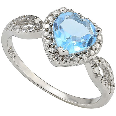 PERFECT 1.25 CT BLUE TOPAZ & 2 PCS GENUINE DIAMONDS 0.925 STERLING SILVER W/ PLATINUM RING