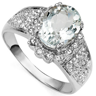 STUNNING 2.207 CARAT TW (3 PCS) AQUAMARINE & GENUINE DIAMOND PLATINUM OVER 0.925 STERLING SILVER RING