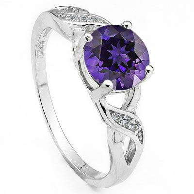 EXCLUSIVE 1.47 CARAT AMETHYST WITH CREATED WHITE SAPPHIRE PLATINUM OVER 0.925 STERLING SILVER RING