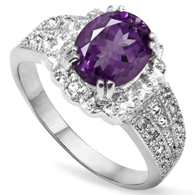 DELICATE! FLORAL LAVENDER AMETHYST WITH DOUBLE GENUINE DIAMONDS 0.925 STERLING SILVER W/ PLATINUM RING