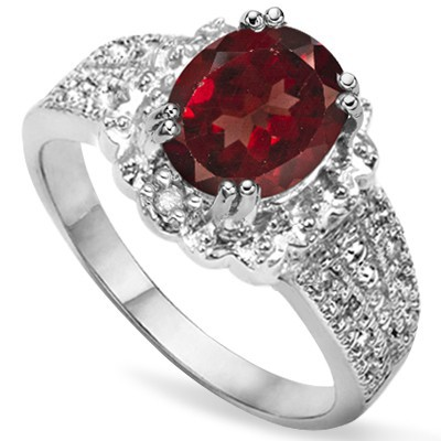 ATTRACTIVE 2.02 CT PERSIAN RED GARNET & GENUINE WHITE DIAMOND 0.925 STERLING SILVER W/ PLATINUM RING