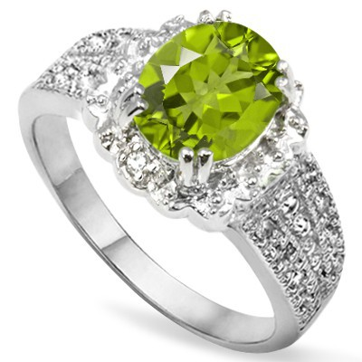 STUNNING 1.83 CT LIME GREEN PERIDOT 2PCS WHITE DIAMOND 0.925 STERLING SILVER W/ PLATINUM RING