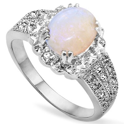 CHARMING! 1.5 CT FIRE OPAL DOUBLE WHITE DIAMOND 0.925 STERLING SILVER W/ PLATINUM RING
