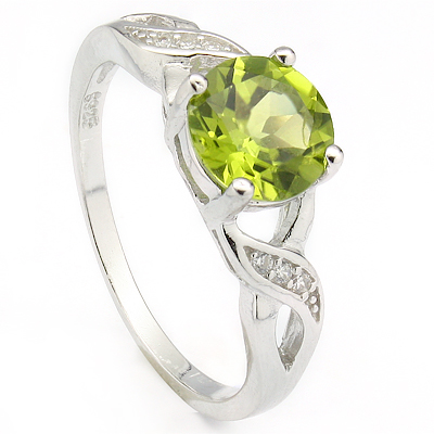 LOVELY 1.3 CARAT PERIDOT & CREATED WHITE SAPPHIRE PLATINUM OVER 0.925 STERLING SILVER RING