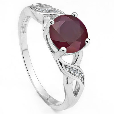 MAGNIFICENT 1.75 CARAT GENUINE RUBY & CUBIC ZIRCONIA PLATINUM OVER 0.925 STERLING SILVER RING