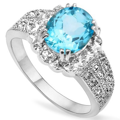 WONDERFUL 2.11 CT SKY BLUE TOPAZ & DOUBLE GENUINE DIAMOND 0.925 STERLING SILVER W/ PLATINUM RING