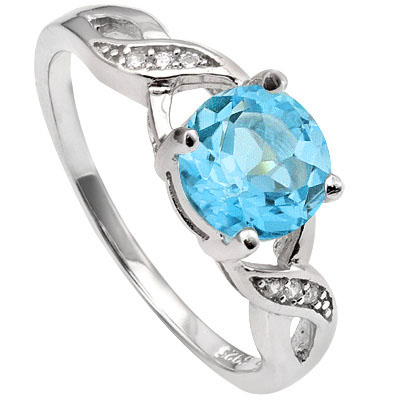 EXCLUSIVE 1.68 CARAT BLUE GEMSTONE & CREATED WHITE SAPPHIRE PLATINUM OVER 0.925 STERLING SILVER RING