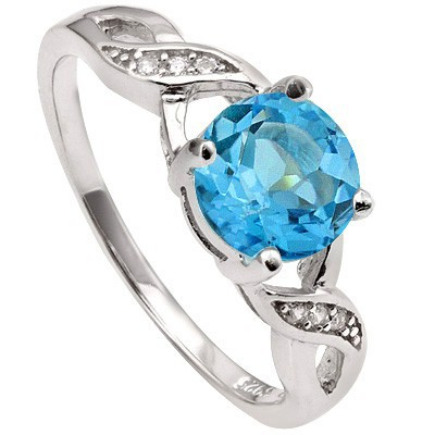 POLISHED 1.65 CT SWISS TOPAZ & 6 PCS CREATED WHITE SAPPHIRE 0.925 STERLING SILVER W/ PLATINUM RING