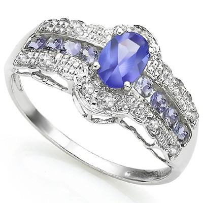 SUPERIOR GENUINE TANZANITE & 8 PCS GENUINE TANZANITE W/ GENUINE DIAMOND STERLING SILVER RING