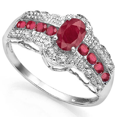 ALLURING 0.98 CARAT TW (11 PCS) GENUINE RUBY & GENUINE RUBY PLATINUM OVER 0.925 STERLING SILVER RING