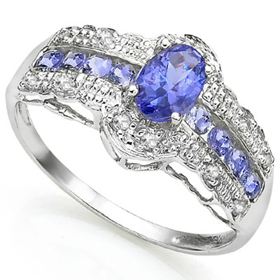 ELITE 0.71 CT GENUINE TANZANITE WITH DOUBLE DIAMONDS 0.925 STERLING SILVER W/ PLATINUM RING