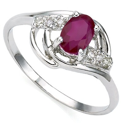 HOT BLOWOUT SALE!! ROYAL GENUINE RUBY DOUBLE WHITE DIAMOND 0.925 STERLING SILVER W/ PLATINUM RING