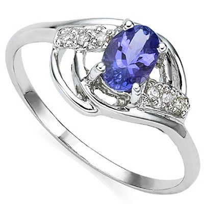 ELEGANT GENUINE TANZANITE DOUBLE WHITE DIAMOND 0.925 STERLING SILVER W/ PLATINUM RING