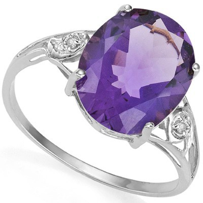 MAGNIFICENT 3.16 CT AMETHYST DOUBLE WHITE DIAMOND 0.925 STERLING SILVER W/ PLATINUM RING