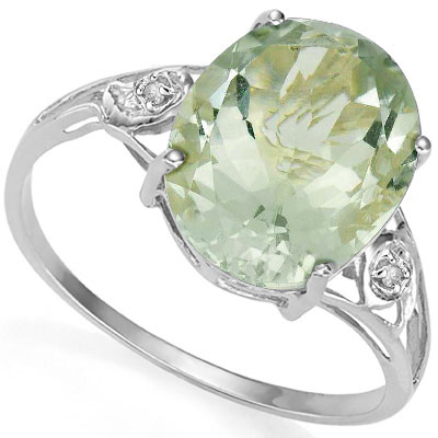 LOVELY 5.5 CARAT GREEN AMETHYST & DOUBLE GENUINE DIAMONDS PLATINUM OVER 0.925 STERLING SILVER RING