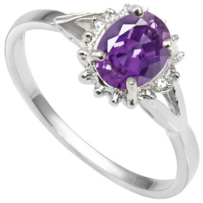 STUNNING BRAZILIAN AMETHYST DOUBLE WHITE DIAMOND 0.925 STERLING SILVER W/ PLATINUM RING