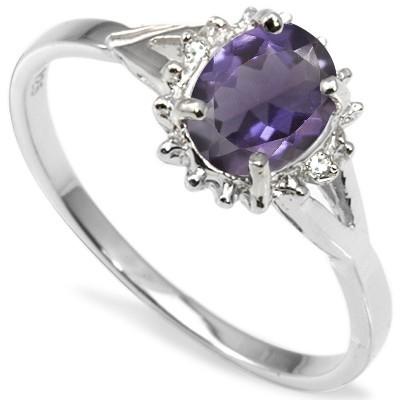 FLOSSY VIOLET BLUE IOLITE GENUINE WHITE DIAMOND 0.925 STERLING SILVER W/ PLATINUM RING