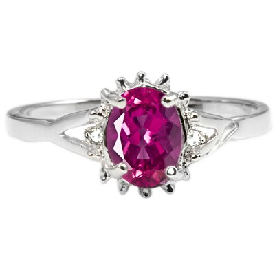ENCHANTING PINK TOURMALINE 2PCS WHITE DIAMOND 0.925 STERLING SILVER W/ PLATINUM RING
