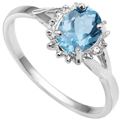 HANDSOME SKY BLUE TOPAZ DOUBLE WHITE DIAMOND 0.925 STERLING SILVER W/ PLATINUM RING