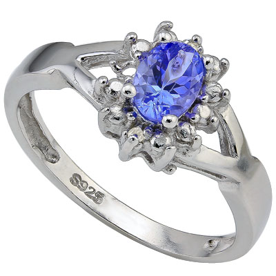 ALLURING 0.42 CT GENUINE TANZANITE & DOUBLE GENUINE DIAMONDS 0.925 STERLING SILVER W/ PLATINUM RING