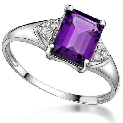 GLAMOROUS 1.49 CT AMETHYST DOUBLE WHITE DIAMOND 0.925 STERLING SILVER W/ PLATINUM RING