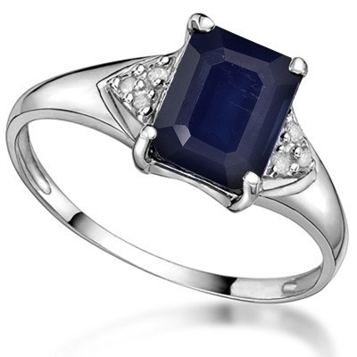 HANDSOME 1.75 CT GENUINE SAPPHIRE DOUBLE WHITE DIAMOND 0.925 STERLING SILVER W/ PLATINUM RING