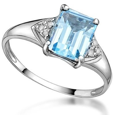 MARVELOUS 1.88 CARAT BLUE GEMSTONE WITH DOUBLE GENUINE DIAMONDS PLATINUM OVER 0.925 STERLING SILVER RING