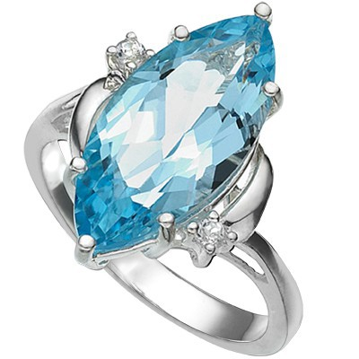 STUNNING! 5.93 CT BLUE TOPAZ DOUBLE WHITE DIAMOND 0.925 STERLING SILVER W/ PLATINUM RING