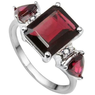 AMAZING TRIPLE GENUINE RED GARNET GENUINE WHITE DIAMOND 0.925 STERLING SILVER W/ PLATINUM RING