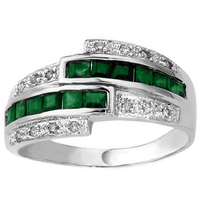 SPARKLING 0.38 CARAT GENUINE EMERALD WITH DOUBLE GENUINE DIAMONDS PLATINUM OVER 0.925 STERLING SILVER RING