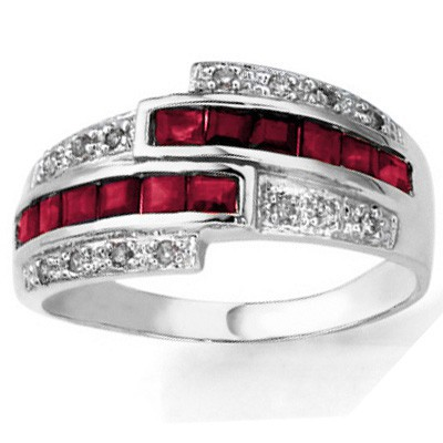 ELEGANT GENUINE RUBY & DOUBLE WHITE DIAMOND 0.925 STERLING SILVER W/ PLATINUM RING
