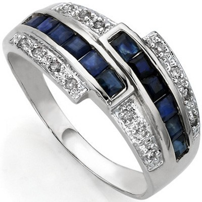 ROYAL SALUTE GENUINE SAPPHIRE & DOUBLE WHITE DIAMOND 0.925 STERLING SILVER W/ PLATINUM RING