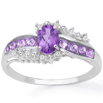 BRILLIANT 0.68 CARAT TW (11 PCS) AMETHYST & AMETHYST PLATINUM OVER 0.925 STERLING SILVER RING