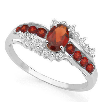 PRETTY 0.99 CARAT TW (11 PCS) GARNET & GARNET PLATINUM OVER 0.925 STERLING SILVER RING