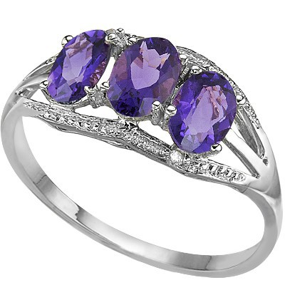 CHARMING TRIPLE AMETHYST DOUBLE WHITE DIAMOND 0.925 STERLING SILVER W/ PLATINUM RING